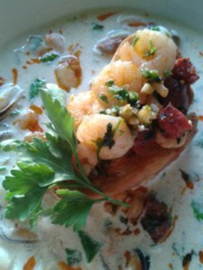 seafood chowder with garlic prawn and chorizo bruscetta2